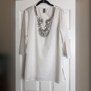 Gorgeous White with Silver Beaded Collar Tunic Top